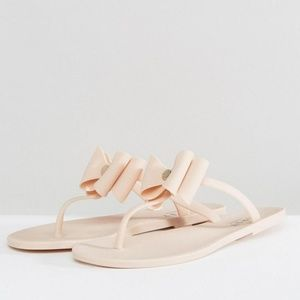 Lipsy Jelly Sandals with Bow Detail in Nude
